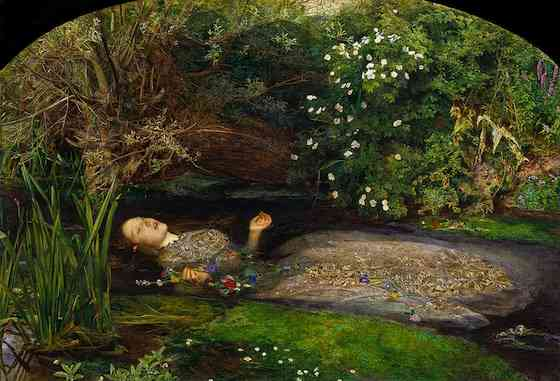 Sir John Everett Millais, Ophelia, 1851-52, oil on canvas, 76.2 x 111.8 cm (Tate Britain, London)