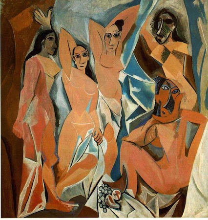 "Pablo Picasso, Les Demoiselles d'Avignon, 1907, oil on canvas, 8' x 7' 8"" (243.9 x 233.7 cm) (Museum of Modern Art, New York)"