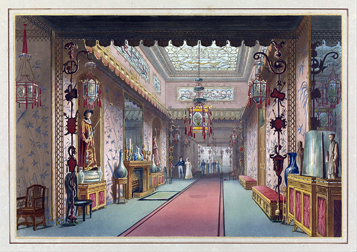 John Nash, Chinese Gallery As It Was, Plate XV in Illustrations of Her Majesty's Palace at Brighton, printed by T. Sutherland, Frederic Lewis, Robert Havel Jr., and M. Dubourg. Published by J. B. Nichols and Son, London, England, 1838, etching and aquatint, brush and watercolor, letterpress on white wove paper mounted on heavy tan board, ruled lines in color and gold paint (Cooper–Hewitt, Smithsonian Design Museum)