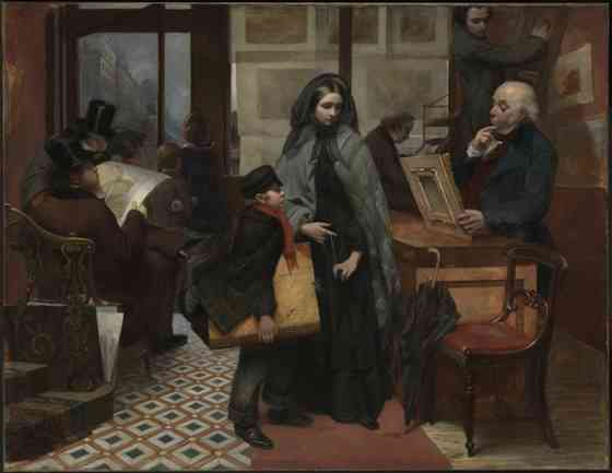 "Emily Mary Osborn, Nameless and Friendless, ""The rich man's wealth is his strong city: the destruction of the poor is their poverty"" (Proverbs: 10:15), 1857, oil on canvas, 82 x 104 cm (Tate Britain, London)"