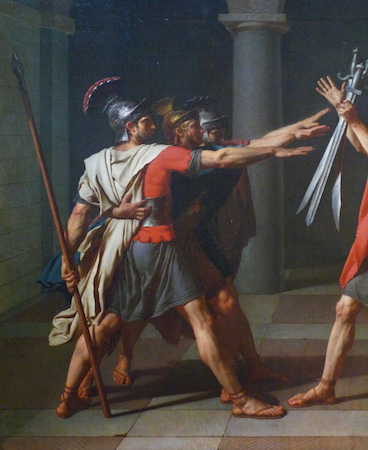 The Horatii brothers (detail), Jacques-Louis David, <em>Oath of the Horatii</em>, 1784, oil on canvas, 3.3 x 4.25m, commissioned by Louis XVI, painted in Rome, exhibited at the salon of 1785 (Musée du Louvre)