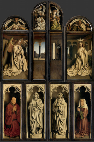 Jan van Eyck, Ghent Altarpiece (closed), completed 1432, oil on wood, 11 feet 5 inches x 7 feet 6 inches (closed), Saint Bavo Cathedral, Ghent, Belgium (photo: Closer to Van Eyck)