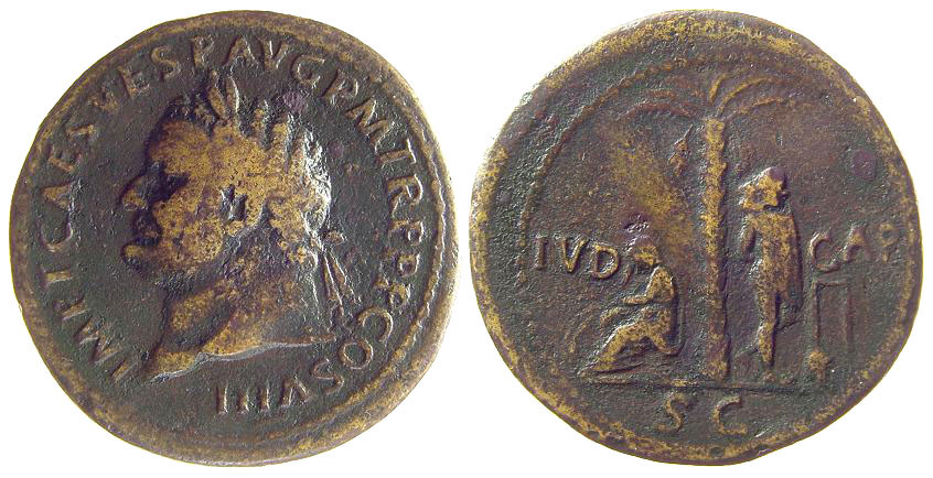 Judaea Capta Sesterti with portrait of Titus (photo: copyright © David Hendin, used by permission)