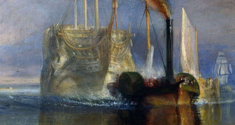 Temeraire and tugboat (detail), Joseph Mallord William Turner, The Fighting Temeraire, 1839, oil on canvas, 90.7 x 121.6 cm (The National Gallery, London)