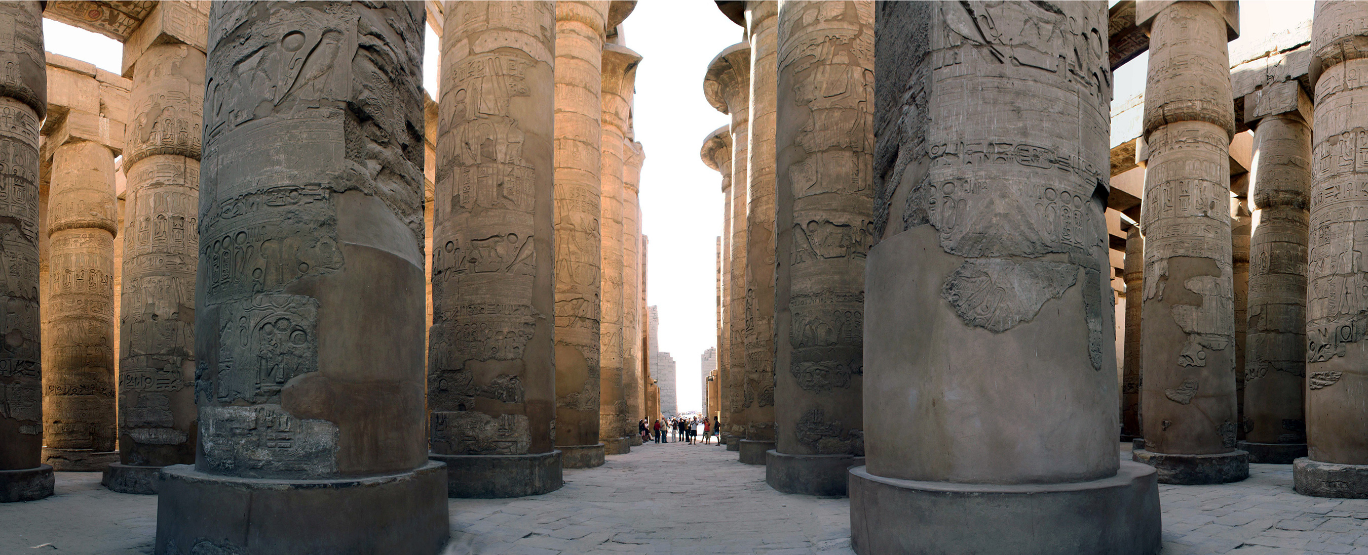 Hypostyle Hall, c. 1250 B.C.E. (hall), 18th and 19th Dynasties, New Kingdom, sandstone and mud brick, Karnak, at Luxor, Egypt (photo: Blalonde, public domain)
