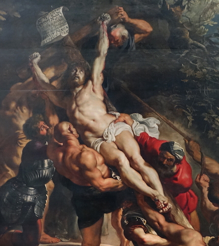 Christ (detail), Peter Paul Rubens, Elevation of the Cross, from Saint Walburga, 1610, oil on wood, center panel: 15 feet 1-7/8 inches x 11 feet 1-1/2 inches (now in Antwerp Cathedral)
