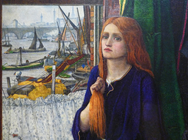 Woman and view of the Thames (detail), John Roddam Spencer Stanhope, Thoughts of the Past, 1859, oil on canvas, 86.4 x 50.8 cm (Tate Britain, London)