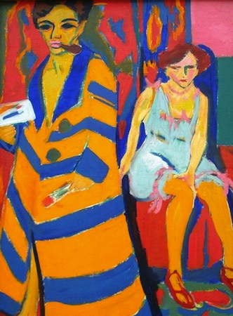Ernst Ludwig Kirchner, Self-Portrait with Model, 1907/26, oil on canvas, 150.5 x 100 cm (Hamburger Kunsthalle)