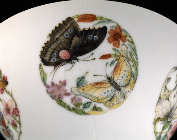 Famille rose butterfly bowl, from Jingdezhen, Jiangxi province, southern China, Qing dynasty, Yongzheng period (1723-35)