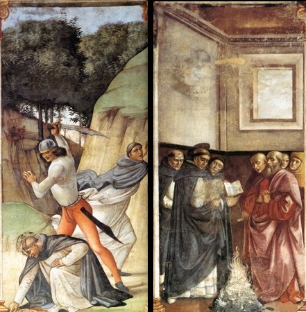 Death of Peter Martyr (left), St. Dominic Tests Books in Fire (right), fresco, c. 1485-90 (Cappella Maggiore,Santa Maria Novella, Florence)