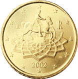 Reverse of Italian € 0.50 coin