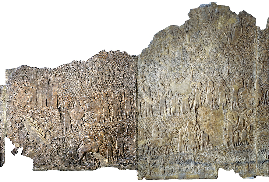 The siege and capture of the city of Lachish in 701, panel 8-9, South-West Palace of Sennacherib, Nineveh, northern Iraq, Neo-Assyrian, c. 700-681 B.C.E., alabaster, 182.880 x 193.040 cm © Trustees of the British Museum  Part of a series which decorated the walls of a room in the palace of King Sennacherib (reigned 704-681 B.C.E.). The Assyrian soldiers continue the attack on Lachish. They carry away a throne, a chariot and other goods from the palace of the governor of the city. In front and below them some of the people of Lachish, carrying what goods they can salvage, move through a rocky landscape studded with vines, fig and perhaps olive trees. Sennacherib records that as a result of the whole campaign he deported 200,150 people. This was standard Assyrian policy, and was adopted by the Babylonians, the next ruling empire.