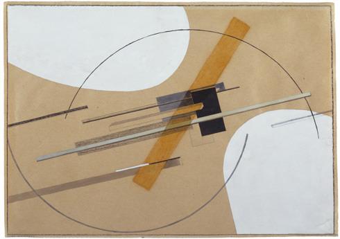"El Lissitzky, Proun (Entwurf zu Proun, S.K.), 1922-23, watercolor, gouache, india ink,graphite, conté crayon, and varnish on buff paper, 8 7/16 × 11 3/4"" / 21.4 × 29.7 cm (Solomon R. Guggenheim Museum, New York)"