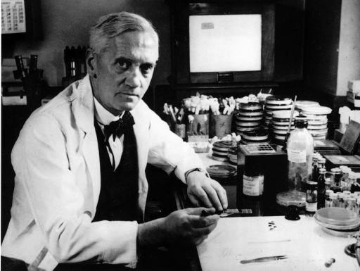 Alexander Fleming in his lab
