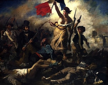 Delacroix, Liberty Leading the People, 1830, oil on canvas, 260 cm x 325 cm (Louvre, Paris)