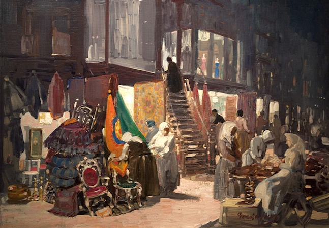 George Luks, Allen Street, c. 1905, oil on canvas. 32 x 45 in. / 81.3 × 114.3 cm (Hunter Museum of American Art, Chattanooga, TN)