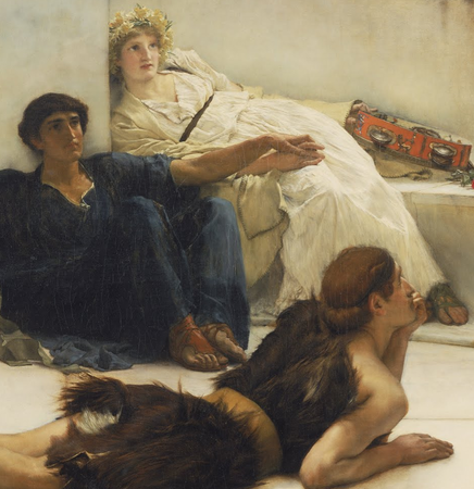 Figures listening ( detail), Sir Lawrence Alma-Tadema, A Reading from Homer, 1885, oil on canvas, 1836.67 x 918.72 cm (Philadelphia Museum of Art)