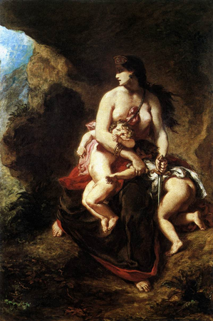 Eugène Delacroix, Medea About to Kill Her Children, 1838, Oil on canvas, 122 x 84 cm (Musée du Louvre, Paris)