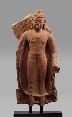 Standing Buddha Offering Protection, late 5th century, Gupta period, India,  red sandstone, 33 11/16 inches high (The Metropolitan Museum of Art)