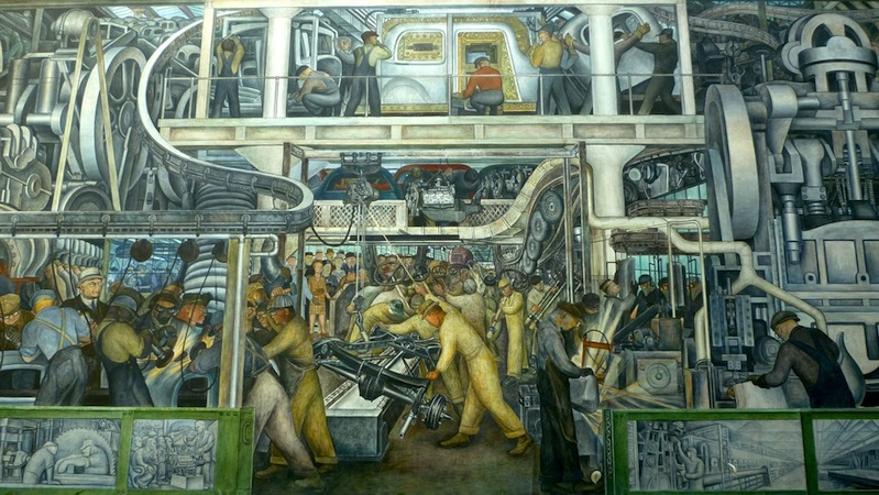 South wall (detail), Diego Rivera, Detroit Industry murals, 1932-33, twenty-seven fresco panels at the Detroit Institute of Arts (photo: quickfix, CC BY-SA 2.0)