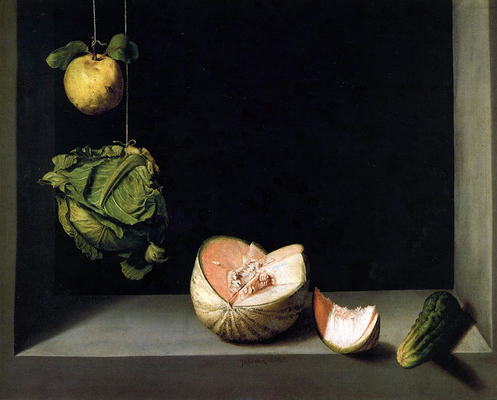 Juan Sánchez Cotán, Quince, Cabbage, Melon, and Cucumber, 1602, oil on canvas, 68.9 cm x 84.5 cm (San Diego Museum of Art)