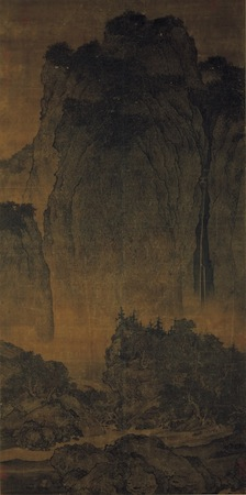 Monumental landscape (detail), Fan Kuan, Travelers by Streams and Mountains, c. 1000, ink on silk hanging scroll, 206.3 x 103.3 cm. (National Palace Museum, Taibei)