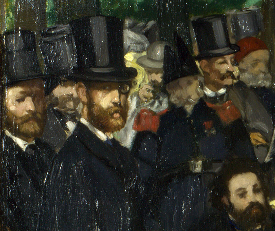Figures, including a self-portrait (detail), Édouard Manet, Music in the Tuileries Gardens, 1862, oil on canvas, 76.2 x 118.1 cm (The National Gallery, London)