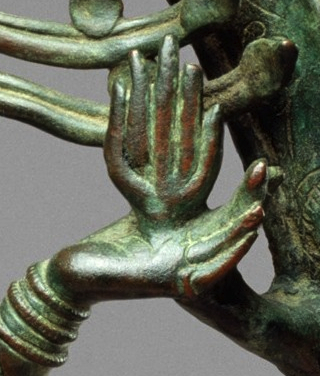 Shiva's upper left hand holding the agni, the flame of destruction (detail), Shiva as Lord of the Dance (Nataraja), c. 11th century, Copper alloy, Chola period, 68.3 x 56.5 cm (The Metropolitan Museum of Art)