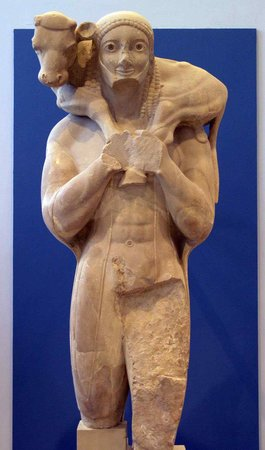 Moschophoros, early 6th century B.C.E., marble (Acropolis Museum, Athens)