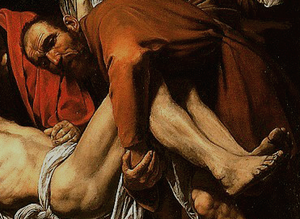 Detail, Michelangelo Merisi da Caravaggio, Deposition (or Entombment), c. 1600-04, oil on canvas, 300 x 203 cm (Pinacoteca Vaticana, Vatican City)