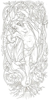 Lorenz Frolich, Odin sacrifices himself to himself by hanging from the world tree Yggdrasil, 1895