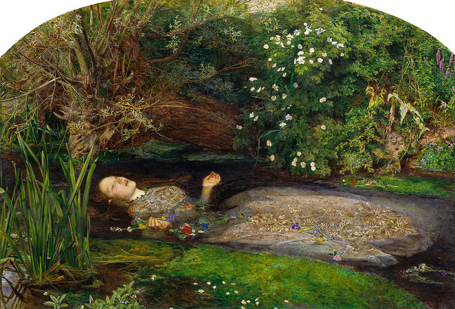 Sir John Everett Millais, Ophelia, 1851-52, oil on canvas, 762 x 111.8 cm (Tate Britain, London)