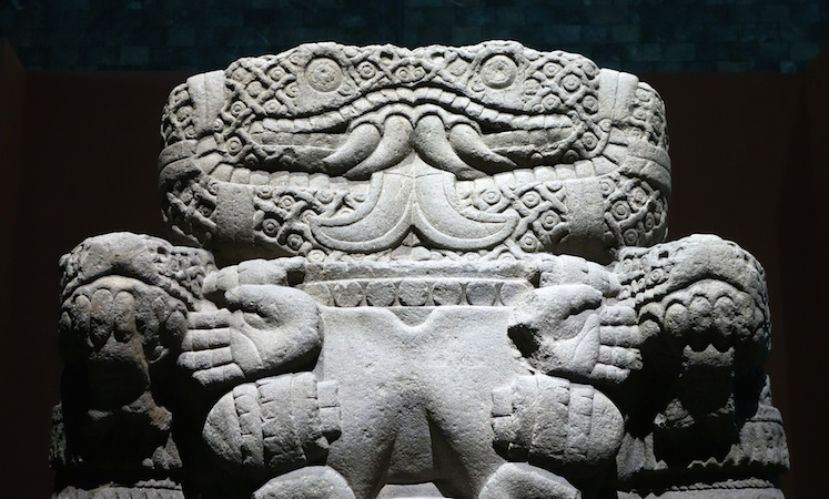 Snakes and torso (detail), Coatlicue, c. 1500, Mexica (Aztec), found on the SE edge of the Plaza mayor/Zocalo in Mexico City, basalt, 257 cm high (National Museum of Anthropology, Mexico City)