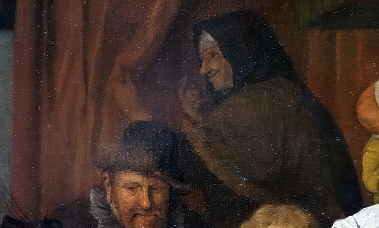 Grandmother (detail), Jan Havicksz Steen, The Feast of St Nicholas, 1665-68, oil on canvas, 82 × 70.5 cm (Rijksmuseum)