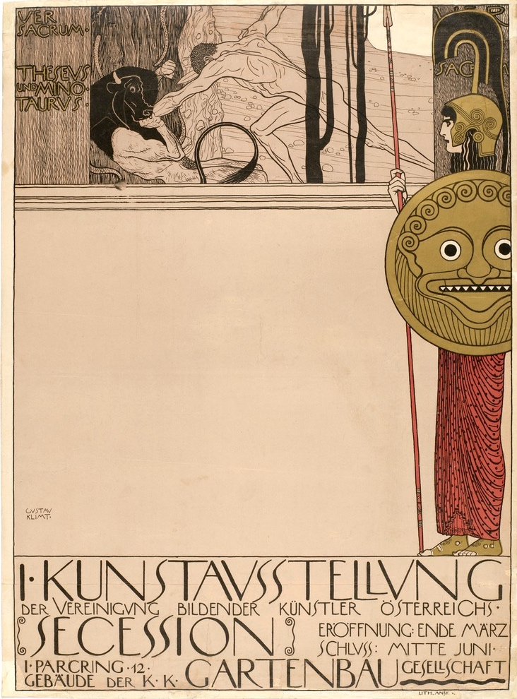 Gustav Klimt, Poster for the First Secession Exhibition (censored version), 1898, lithograph, 63.5 x 46.9 (The Museum of Modern Art)