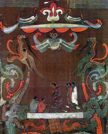 Lady Dai and her attendants (detail), Funeral banner of Lady Dai (Xin Zhui), 2nd century B.C.E., silk, 205 x 92 x 47.7 cm (Hunan Provincial Museum)