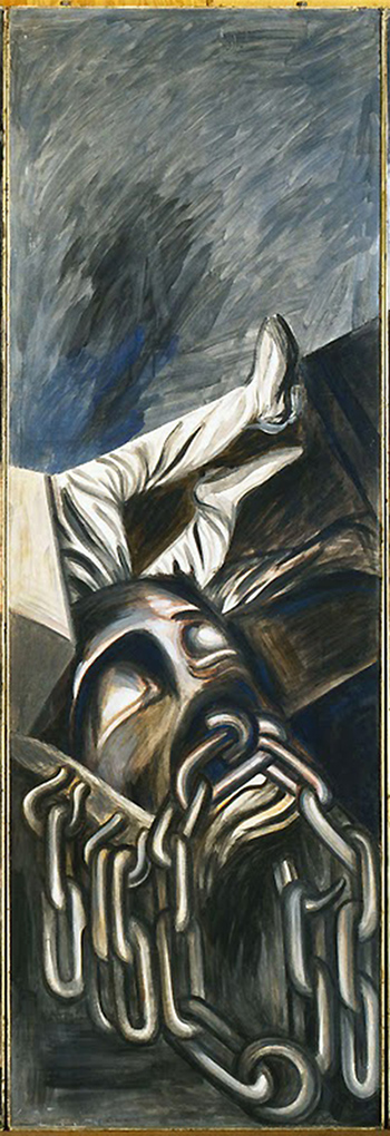 Detail, José Clemente Orozco, Dive Bomber and Tank, 1940,fresco, six panels, 275 x 91.4 cm each, 275 x 550 cm overall (The Museum of Modern Art, New York)
