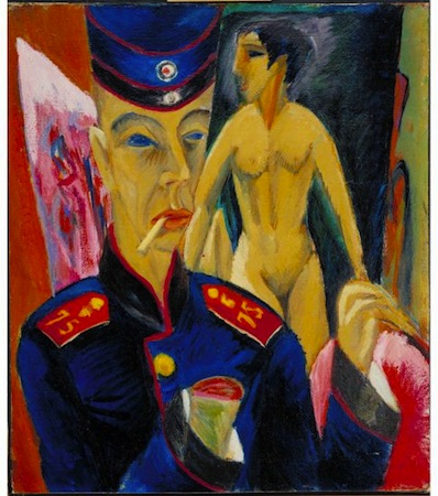 Ernst Ludwig Kirchner, Self-Portrait as a Soldier, 1915, oil on canvas, 69 x 61 cm (Allen Memorial Art Museum, Oberlin College)