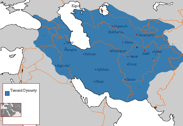Map of the Timurid Dynasty at its greatest extent