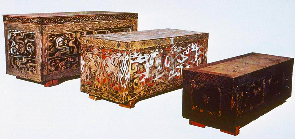 Nesting coffins of Lady Dai (Xin Zhui), 2nd century B.C.E., wood, lacquered exteriors and interiors, 256 x 118 x 114 cm, 230 x 92 x 89 cm and 202 x 69 x 63cm, from tomb 1 (Hunan Provincial Museum)