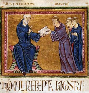 Illumination with St. Benedict delivering his Rule to St. Maurus, Monastery of St. Gilles, Nimes, 1129