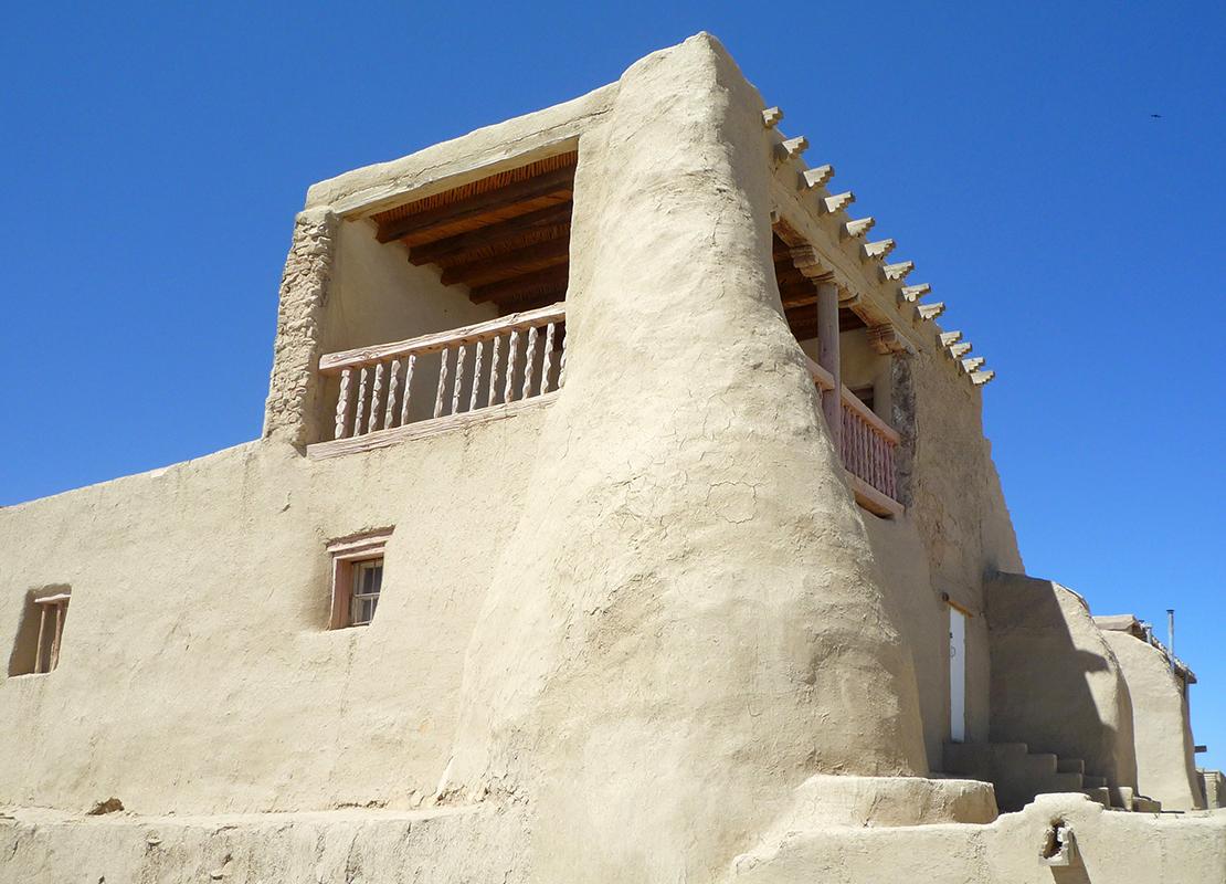 Elevated open-balcony chapel, Mission Church of San Esteban del Rey, 1629, Acoma Pueblo