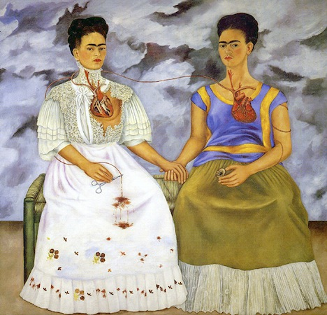 "Frida Kahlo, The Two Fridas (Las dos Fridas), 1939, oil on canvas, 67-11/16 x 67-11/16"" (Museo de Arte Moderno, Mexico City)"