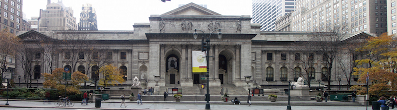Façade of The New York Public Library along Fifth Avenue, New York, NY (photo: Sam67fr, CC BY 2.5)
