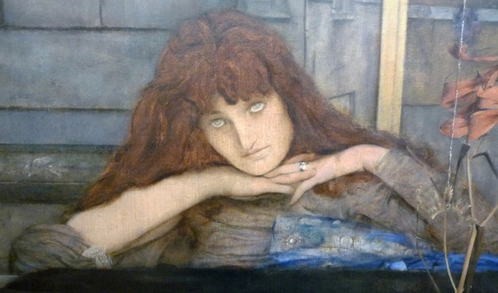 Female figure (detail), Fernand Khnopff, I Lock my Door Upon Myself, 1891, oil on canvas, 72.7 x 141 cm (Neue Pinakothek, Munich)