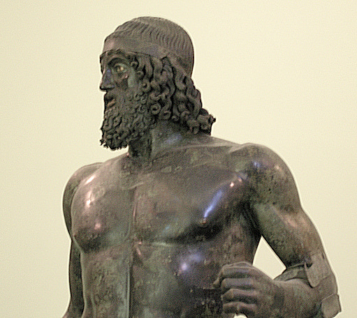 Head and torso (detail), Statue A, from the sea off Riace, Italy, c. 460-450 B.C.E. (?), high (Museo Archaeologico Nazionale Reggio Calabria) (photo: Luca Galli, CC BY 2.0)
