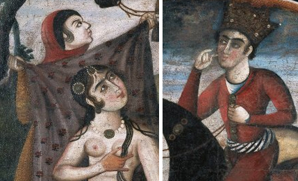 Shirin (left) and Khursaw (right) (details), Khusraw Discovers Shirin Bathing, From Pictorial Cycle of Eight Poetic Subjects, mid 18th century, oil on canvas, 91.4 x 88.9 cm, Shiraz, Iran (Brooklyn Museum)