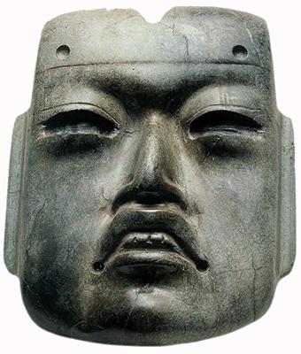 Olmec‐style mask, c. 1470, jadeite, offering 20, hornblende, 10.2 x 8.6 x 3.1 cm
