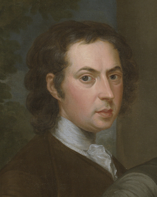 "Self-portrait (detail), John Smibert, The Bermuda Group, 1728, reworked 1739, oil on canvas, 69 1/2 x 93"" / 176.5 x 236.2 cm (Yale University Art Gallery)"