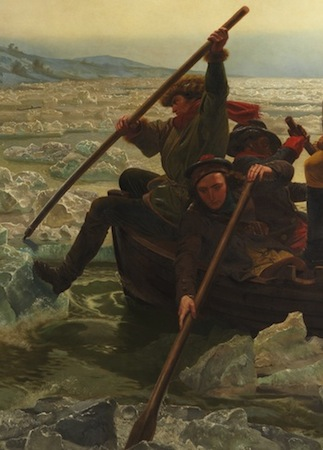 Rowers breaking up the ice as they cross the river on Christmas Day (detail), Emanuel Leutze, Washington Crossing the Delaware, 1851, oil on canvas,  378.5 x 647.7 cm (Metropolitan Museum of Art)